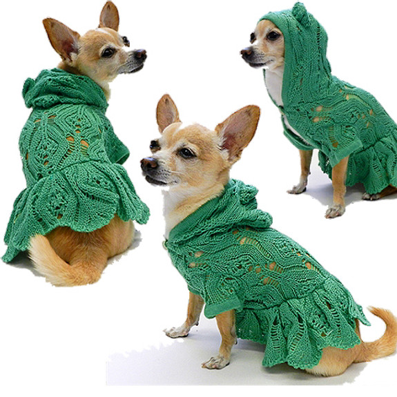 Hooded Lacey Cardigan Dog Dress - Green