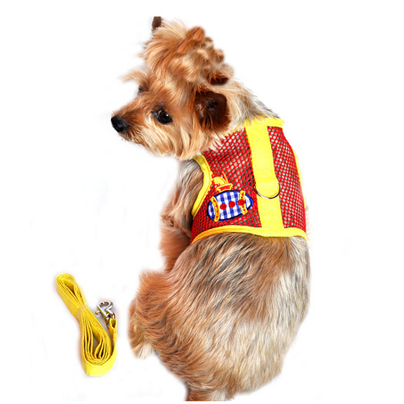 Cool Netted Dog Harness - Sunset Submarine Red & Yellow