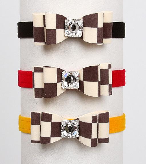Windsor Check Really Big Bow Dog Collars by Susan Lanci