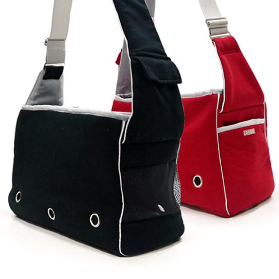 Boxy Messenger Dog Tote Bag - Black or Red