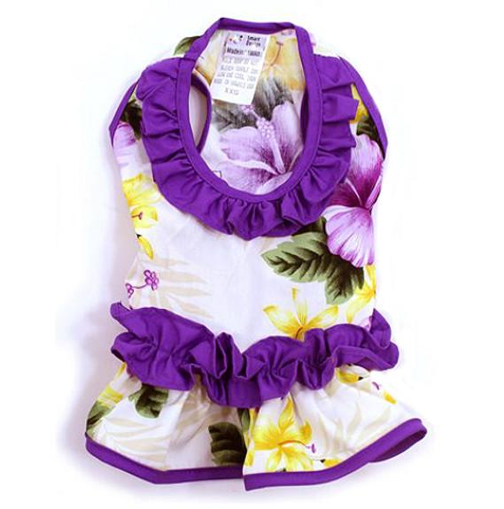 817fefc65d5 Purple Ruffle Hibiscus Hawaiian Dog Dress