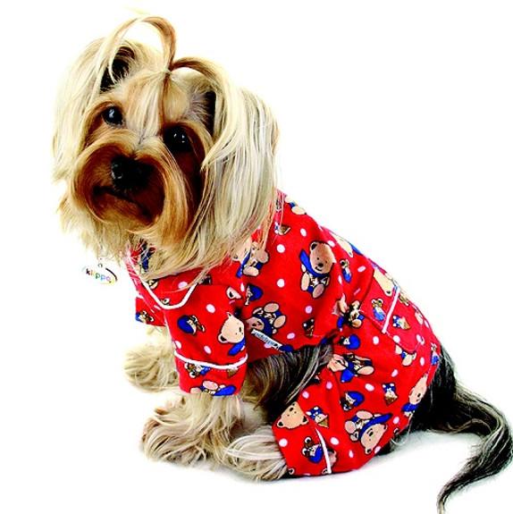 Winter Teddy Bear Cotton Flannel Dog Pajamas & Optional Blanket