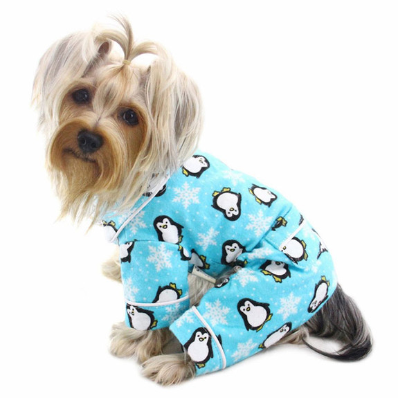 Penguins & Snowflake Flannel Pajamas with 2 Pockets - Turquoise