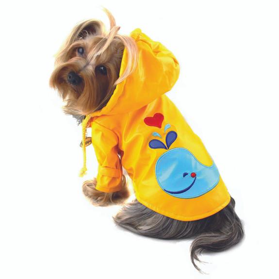 Hooded Splashing Whale Dog Raincoat