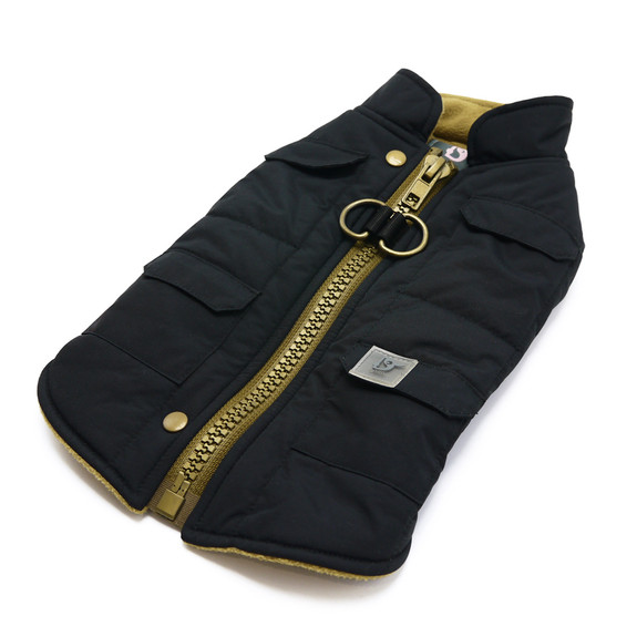 Black Pocket Runner Dog Coat