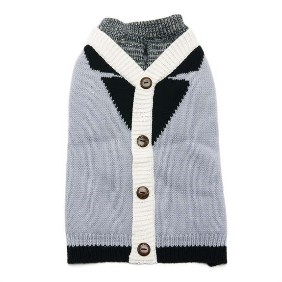 Professor Gray Cardigan Dog Sweater