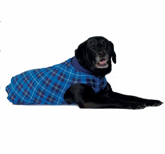 Blue Plaid / Navy Duluth Double Fleece Dog Wrap