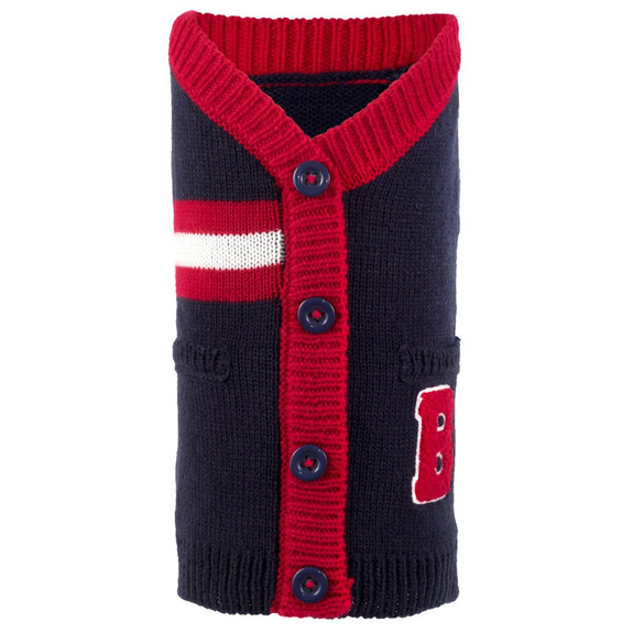Varsity Red & Black Dog Cardigan Sweater