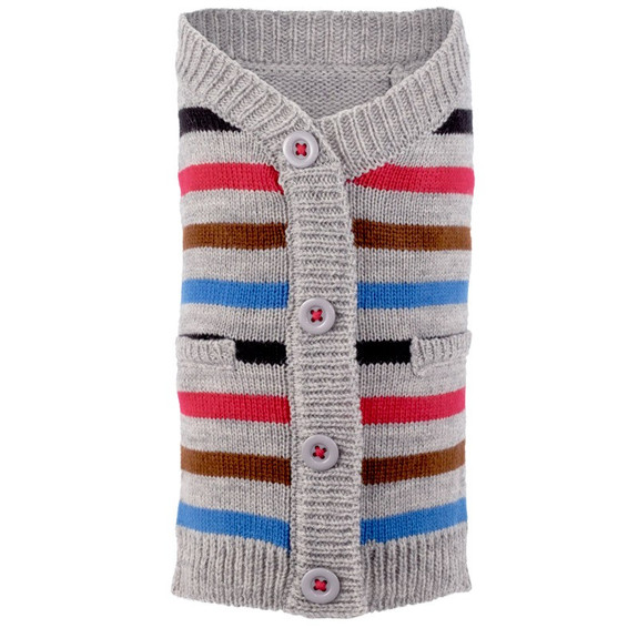 Stripe Blue Dog Cardigan Sweater
