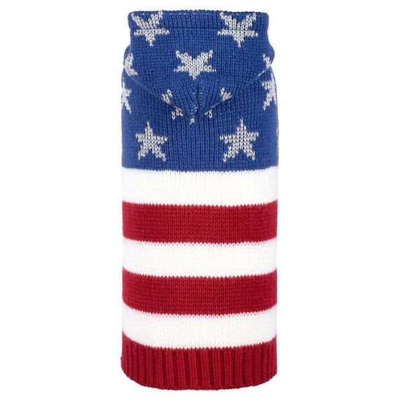 Stars and Stripes Hooded Dog Sweater