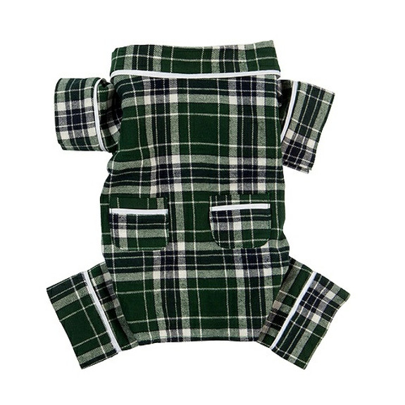 Green Plaid Flannel Dog Pajamas