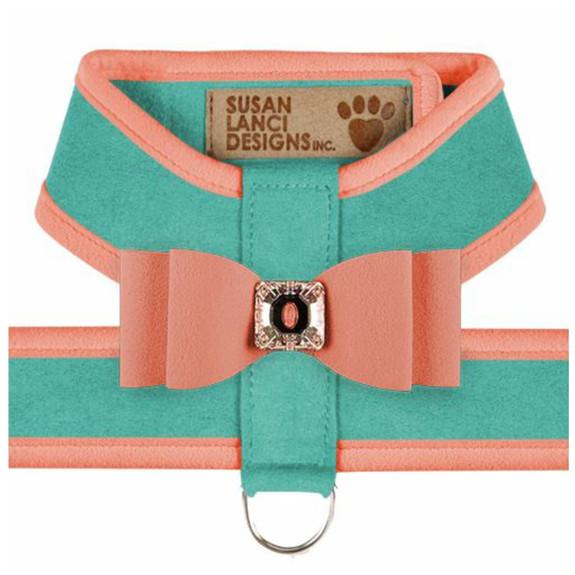 Big Bow Tinkie Harnesses -Binimi Blue / Peaches N Cream Trim & Bow