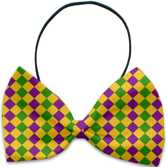 Mardi Gras Diamonds Pet Dog Bow Tie