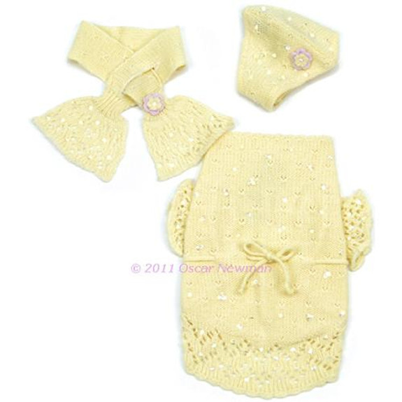 Buttercup Yellow Baby Dog Sweater (with beanies & scarf)