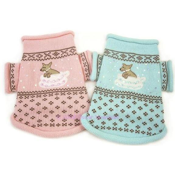 Teacup Dog Sweater - Pink or Aqua