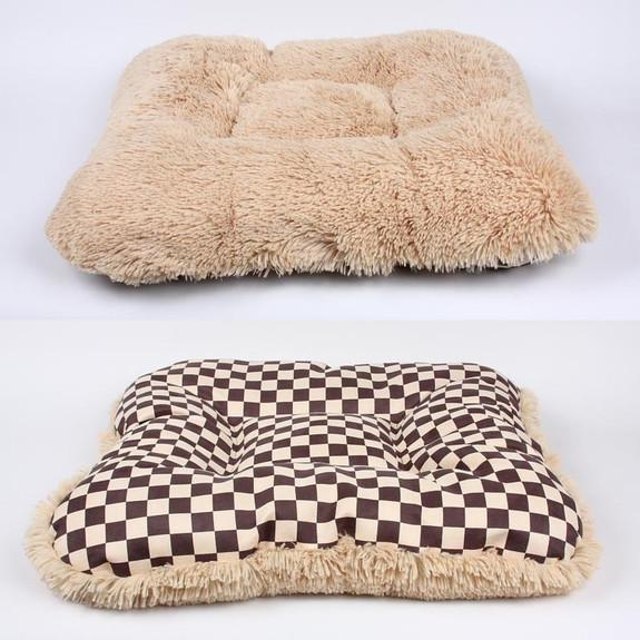 Windsor Check Square Dog Bed w/Camel Shag