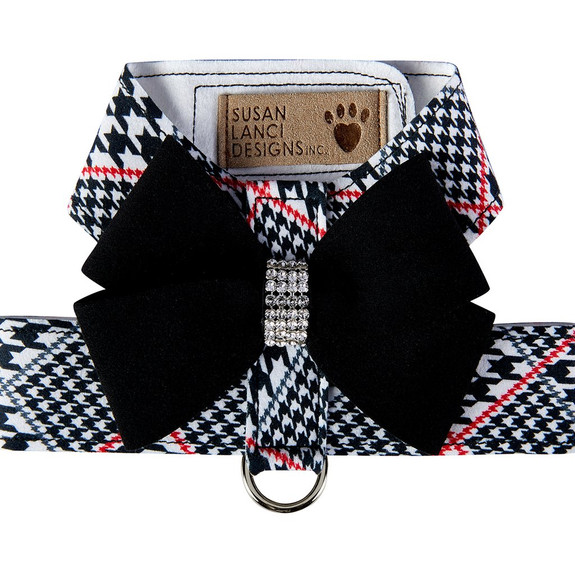 Classic Glen Houndstooth Black Nouveau Bow Tinkie Dog Harness