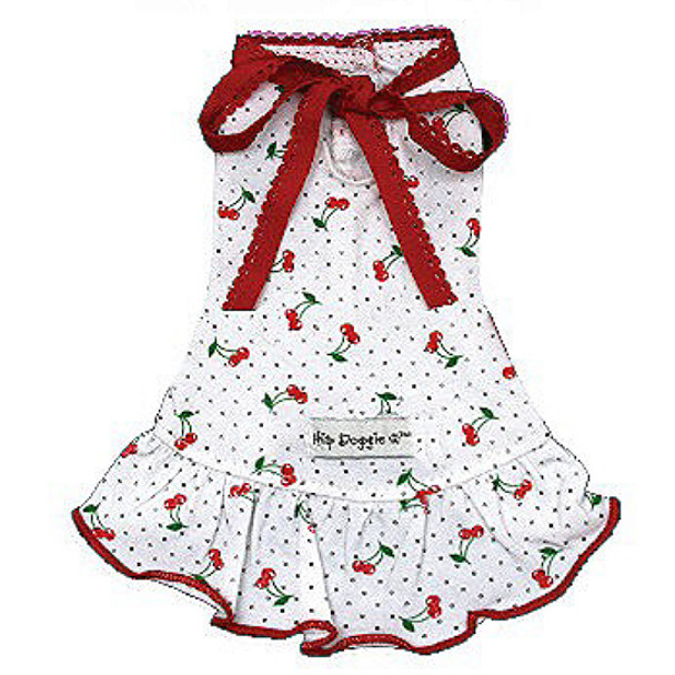Very Cherry Dog Dress - White