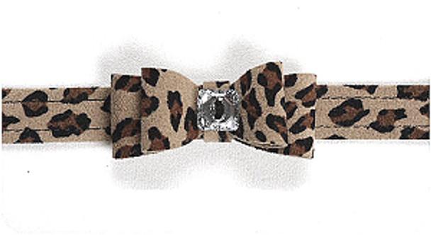 Cheetah Big Bow Dog Collars by Susan Lanci