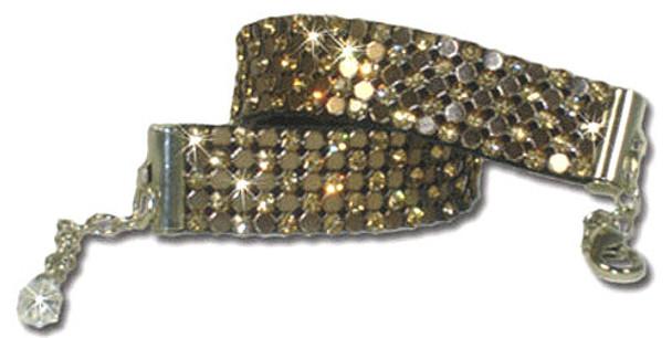 Cognac & Bronze Swarovski Crystal Mesh Dog Necklace