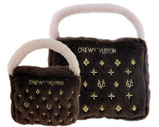 Chewy Vuiton Purse Plush Dog Toy