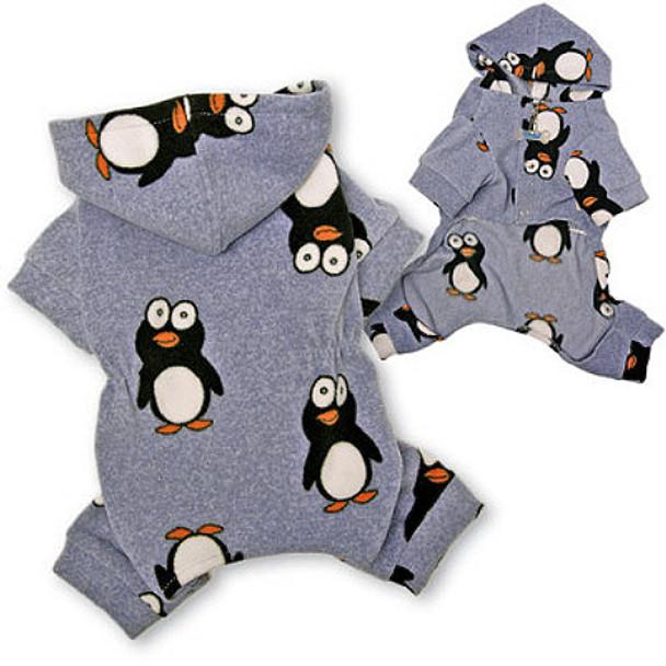 665049cbd Happy Penguin Hooded Fleece Dog Pajamas