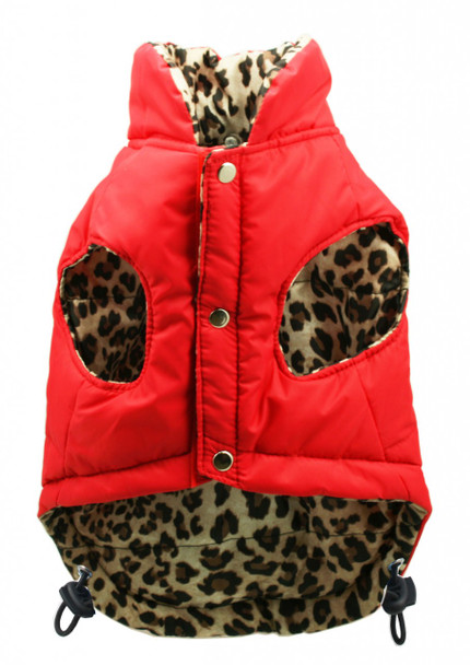 Reversible Red & Leopard Dog Puffer Vest Jacket