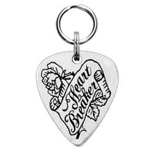 Heart Breaker Engravable Pewter Guitar Pick Dog Tag