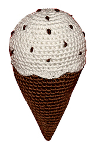 Chocolate Chip Ice Cream Cone Organic Dog Toy