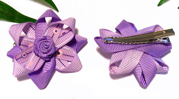 Lavender Times Two Rosette Dog Hair Bow