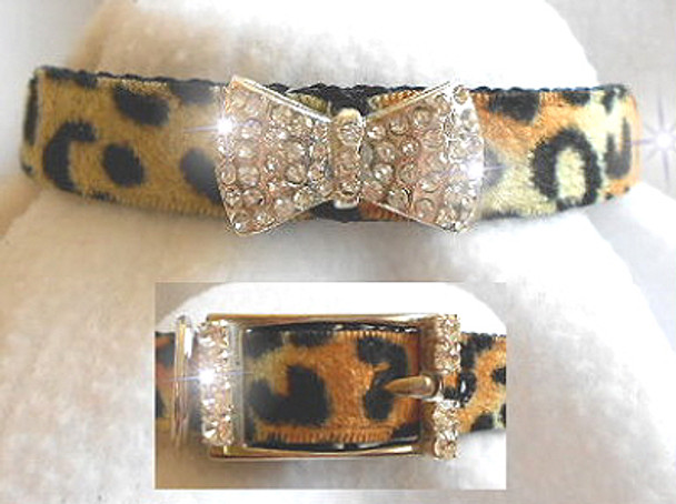 Crystal Bow Leopard Velvet Dog Collar