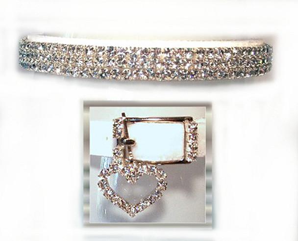 Snow White Velvet Swarovski Crystals Dog Collar