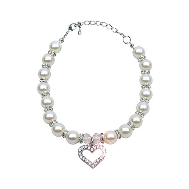 Heart and Pearl Single Strand Pet Dog Necklace