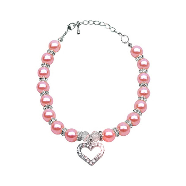 Heart and Pink Rose Pearl Single Strand Pet Dog Necklace