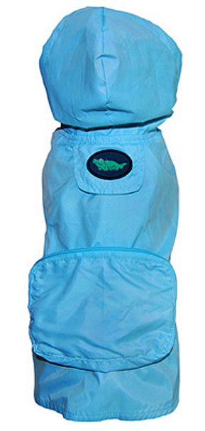 Blue Alligator Pocket Fold Up Dog Raincoat