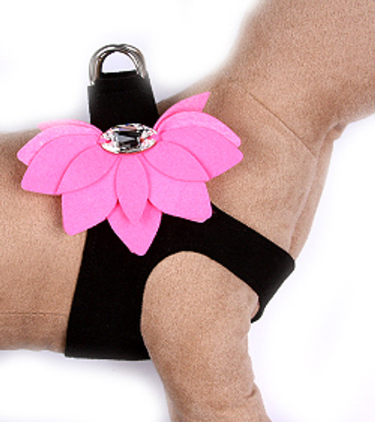 Black / Perfect Pink Water Lily Step in Dog Harness