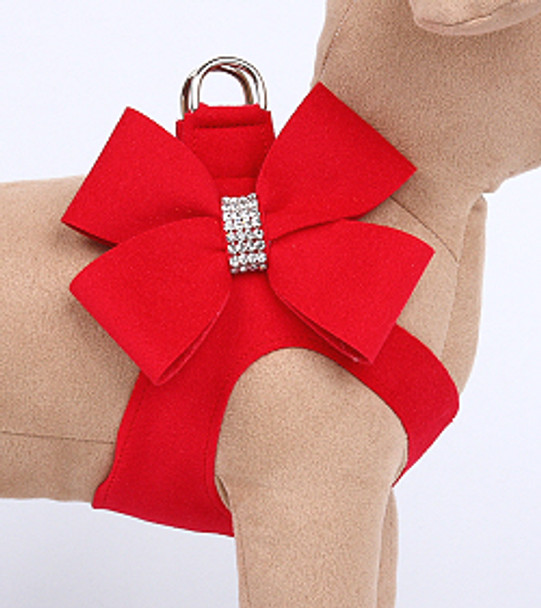 Red Nouveau Bow Step In Dog Harness