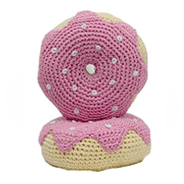 Pink Strawberry Donut - The Original, Organic Cotton  Dental Dog Toy