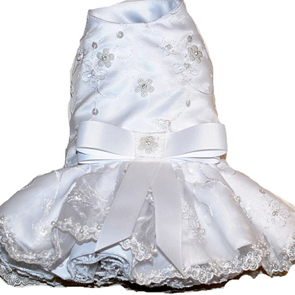 White Embroidered Organza Dog Dress