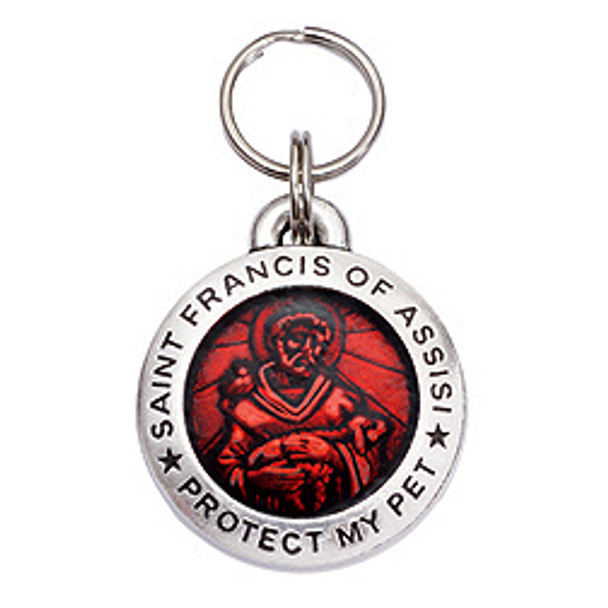 Pewter St. Francis Pet Dog ID Tag - Ruby