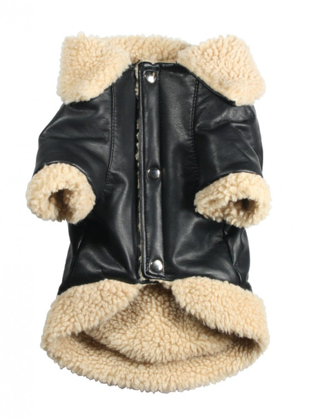 Classic Shearling Leatherette Coat by Hip Doggie - Size L