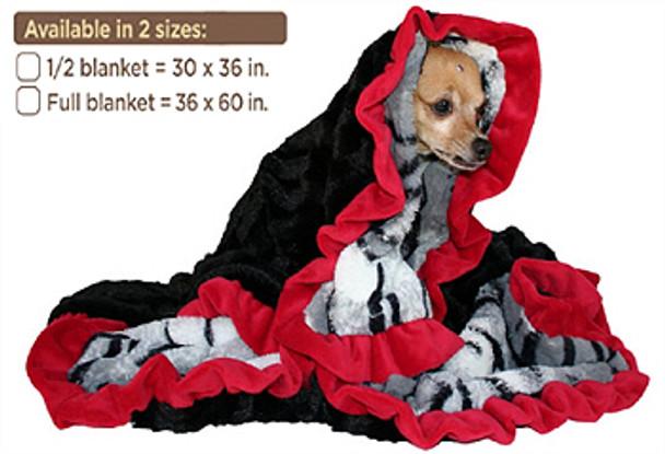 Sleepy Time Cuddle Dog Blanket - White Siberian & Red - 2 Sizes