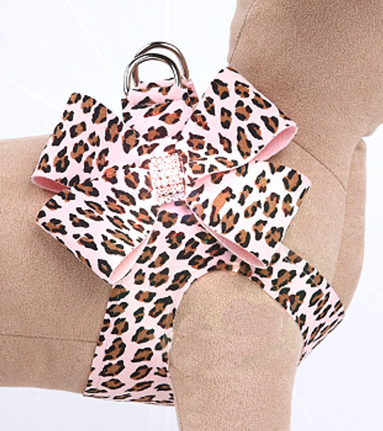 Pink Cheetah Couture Nouveau Bow Step In Dog Harness by Susan Lanci