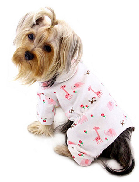 Pink Giraffe & Monkeys Cotton Knit Dog Pajamas