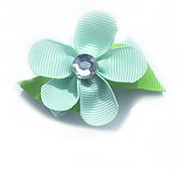 Aqua Flower Ribbon Dog Hair Bow Barrette