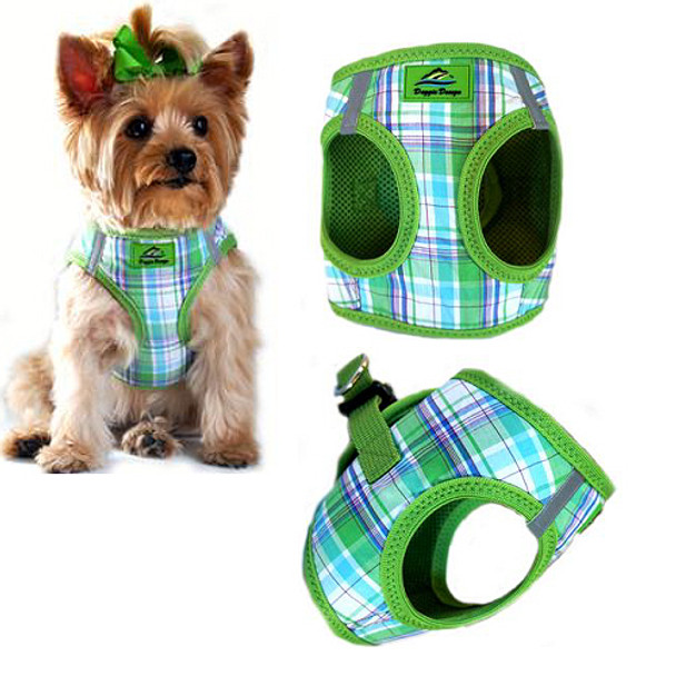 American River Choke Free Step In Dog Harness, Green Plaid up to 50 lbs