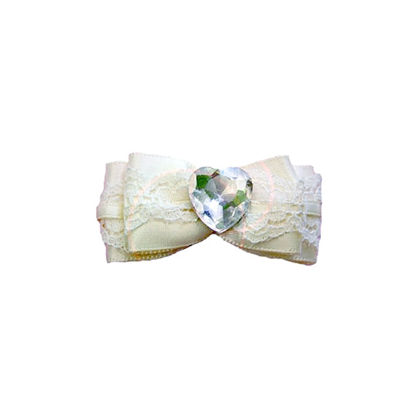 Ivory Wedding Bow Barrette by Ruff Ruff Couture