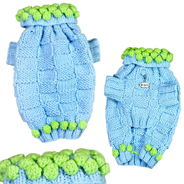 Blue Square Knit Dog Sweater with Pom Poms - Hand Knitted