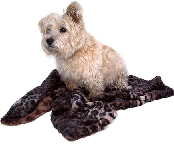 Dark Brown Leopard Minkie Blanket / Mat - 4 Sizes Small - XLarge