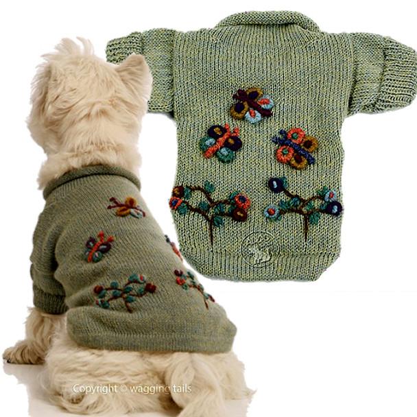 Alpaca Dog Sweater - Dragonflies